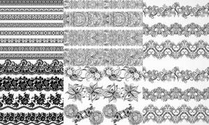 黑白左右连续花纹装饰图案矢量素材