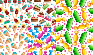 蛋糕雪糕与糖果等无缝底纹矢量素材