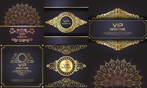 贵宾卡适用金色花纹图案矢量素材V3