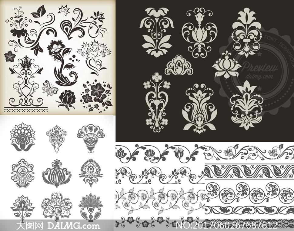 植物花纹与左右连续的纹饰矢量素材