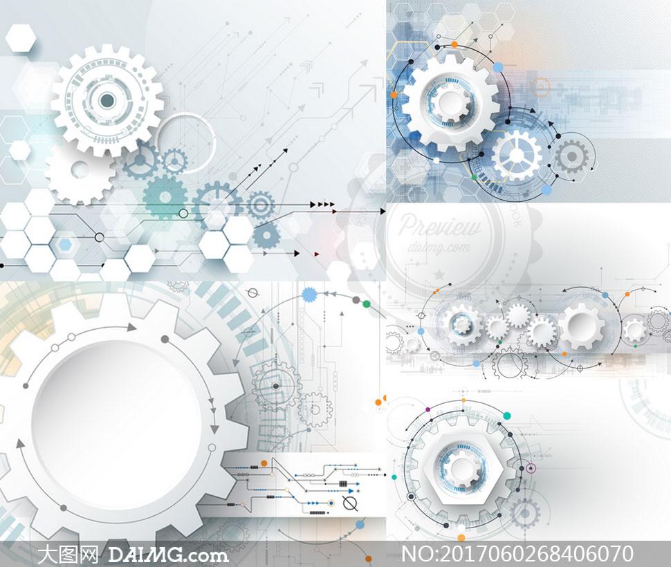 齿轮与电路板元素创意设计矢量图v2
