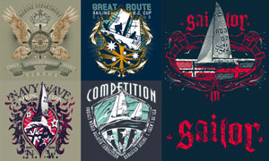 复古效果航海帆船徽章创意矢量素材