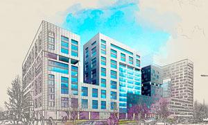 建筑物转彩色线稿艺术效果PS动作