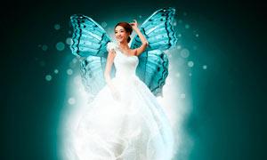 花朵中幻化的蝴蝶天使PS教程素材