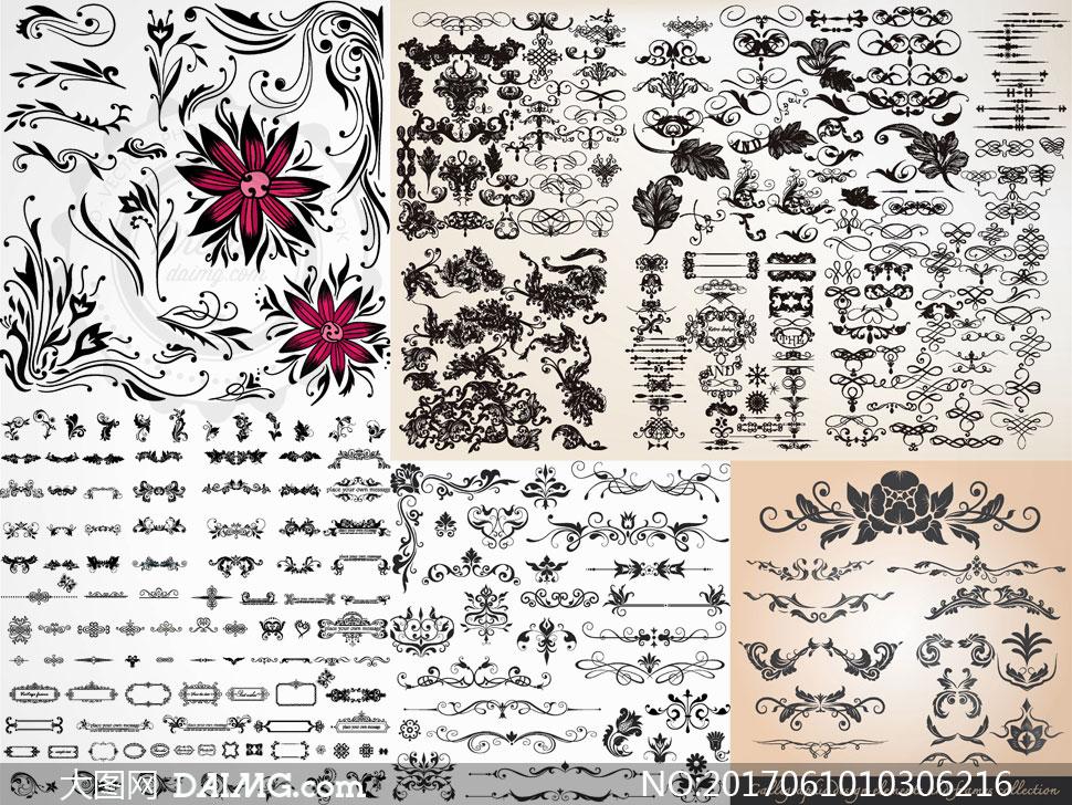 多款黑白欧式装饰花纹边框矢量素材