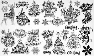 花式英文与圣诞节装饰元素矢量素材
