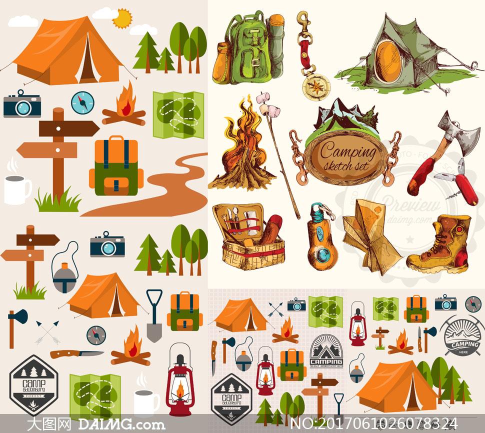 帐篷等户外露营装备主题矢量素材v2