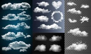 逼真效果天空中的云朵主题矢量素材