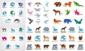 狮子老虎与大象等动物标志矢量素材