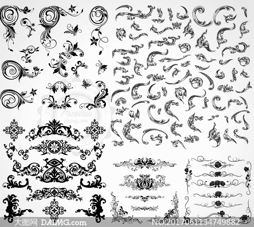 多款黑白效果花纹花角装饰矢量素材