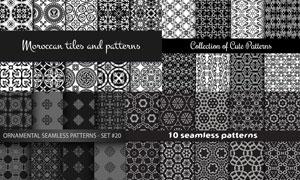 黑白效果四方连续花纹图案矢量素材图片