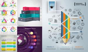 拟物化图形与几何元素信息图表素材