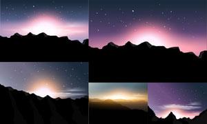 黄昏时分山峦霞光风光设计矢量素材