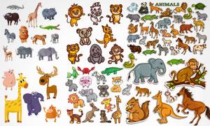 狮子与袋鼠浣熊等卡通动物矢量素材