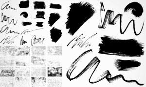 黑白颓废纹理与笔触等元素矢量素材