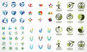 多种人形组合变形标志创意矢量素材