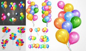 鲜艳多彩放飞的气球元素创意矢量图