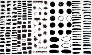 黑白水墨风格笔触设计元素矢量素材