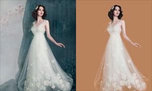 室内人像婚纱照片抠图PS教程素材