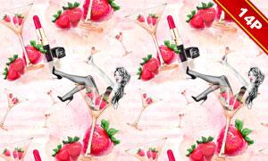 草莓与口红等女性元素背景高清图片