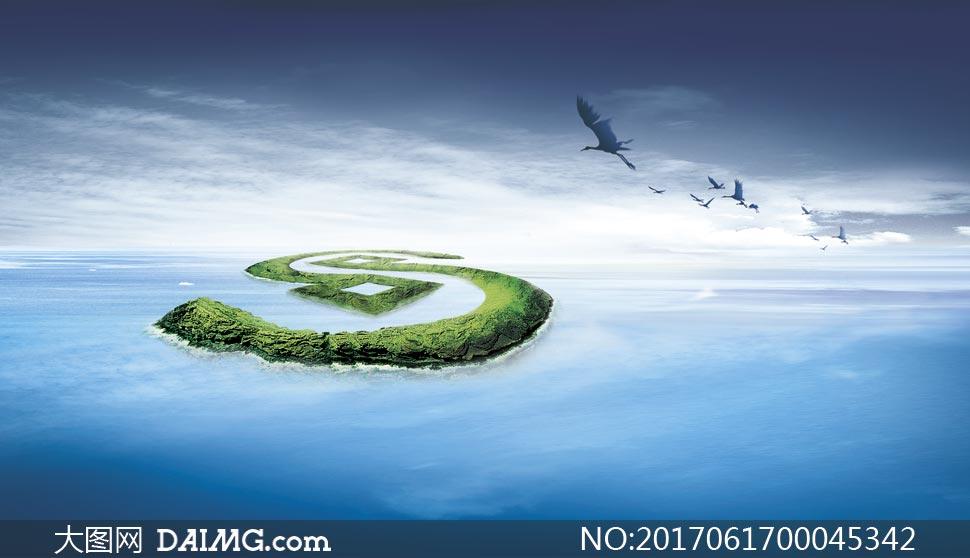 创意海岛背景图设计psd源文件图片