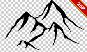 鹿头与山峦等透明背景装饰适用素材