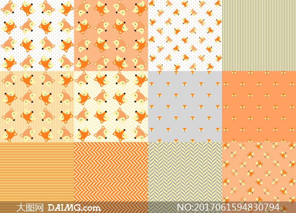 可爱狐狸与条纹等平铺图案背景高清图片