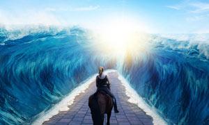 创意的海底行走女骑士PS教程素材