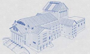 建筑物转蓝色铅笔线稿效果PS动作