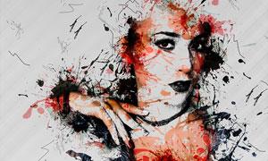 人像添加抽象墨水艺术效果PS动作