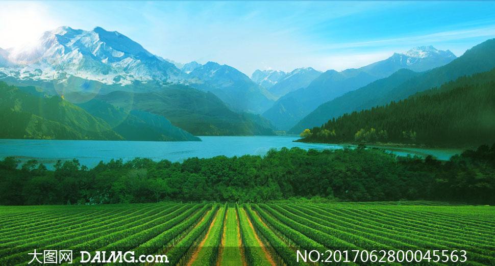 山水湖泊和农田美景摄影图片