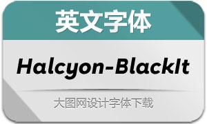 Halcyon-BlackItalic(英文字体)