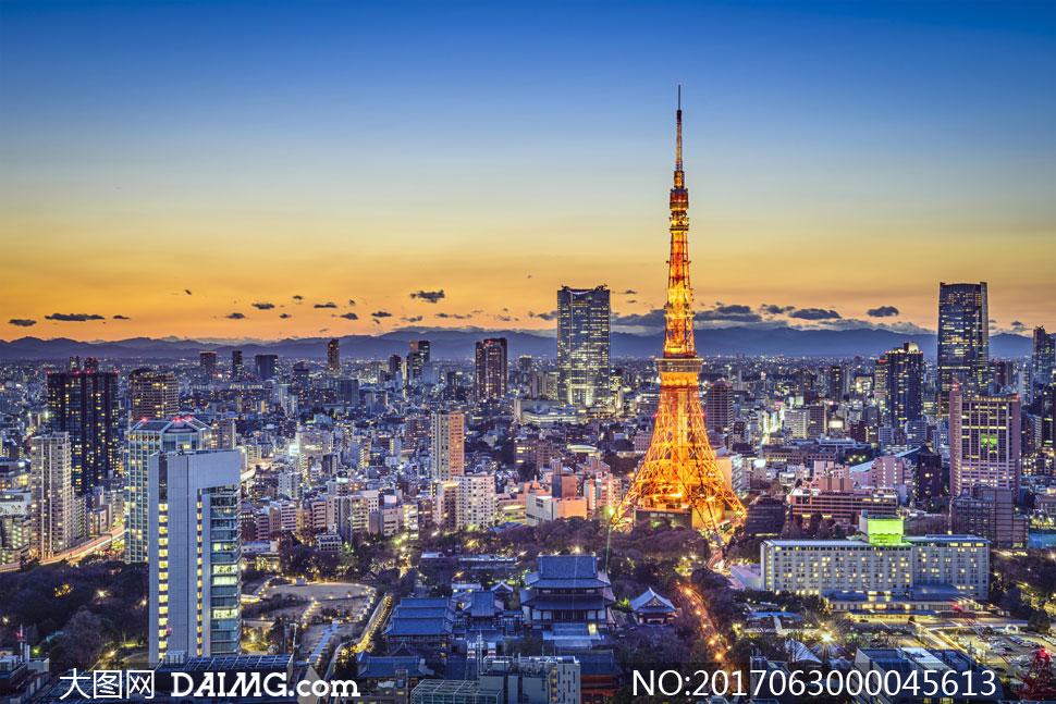 巴黎铁塔唯美夜景风光摄影图片