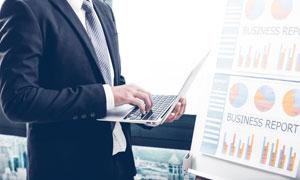 统计图与职场人物创意设计高清图片