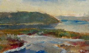 大山河流自然风光油画设计高清图片