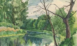 河边的茂密树林等绘画创意高清图片