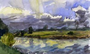 乡间河流自然风光水彩绘画高清图片