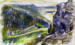 巍峨险峻高山风光蜡笔绘画高清图片