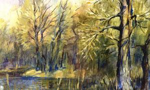 水边的树林风景画创意设计高清图片