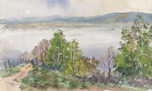 湖光山色自然风景水彩绘画高清图片