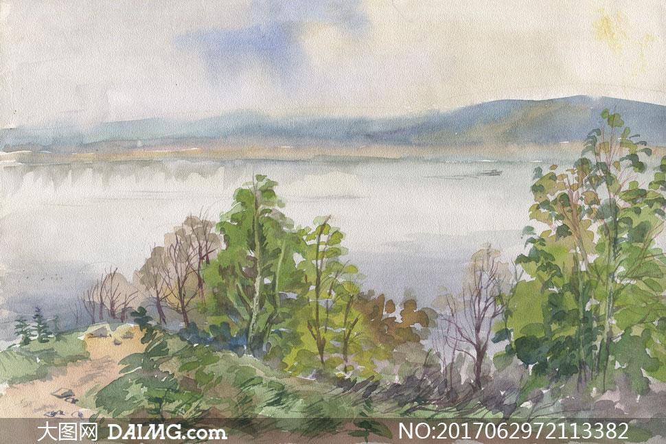 绘画书法 > 素材信息                          水边的树林风景画