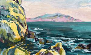 远山与海水中的礁石风景画高清图片