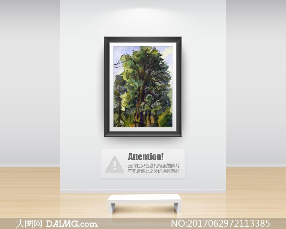 生长茂盛的大树水彩画创意高清图片图片