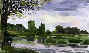大树与湖畔自然风光水彩画高清图片