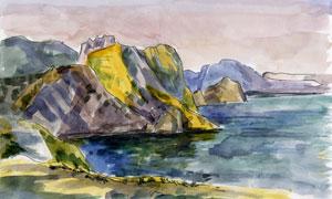 海水与连绵的山丘水彩绘画高清图片