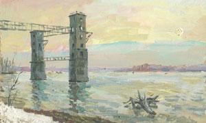 海水中的观光建筑景观油画高清图片