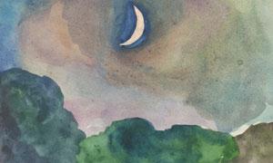 树木与空中的月牙创意绘画高清图片