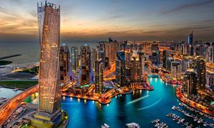 迪拜美丽夜景景观摄影美高梅