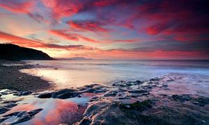 海边沙滩黄昏美景摄影图片