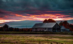 美国农场黄昏美景摄影图片